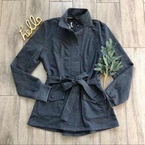 KUT from Kloth Lightweight Knit Jacket Gray Tie